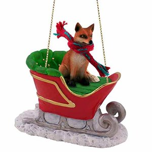 Fox Sleigh Ride Christmas Ornament Red