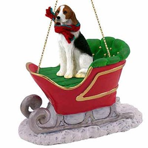 Foxhound Sleigh Ride Christmas Ornament