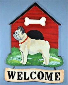 French Bulldog Welcome Sign Cream