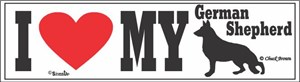 German Shepherd Bumper Sticker I Love My