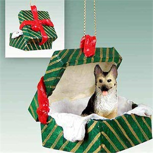 German Shepherd Gift Box Christmas Ornament Tan-Black