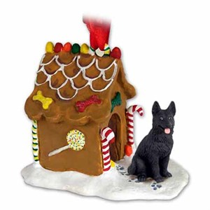 German Shepherd Gingerbread House Christmas Ornament Black