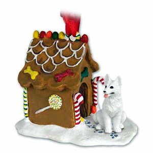 German Shepherd Gingerbread House Christmas Ornament White