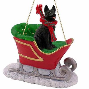 German Shepherd Sleigh Ride Christmas Ornament Black