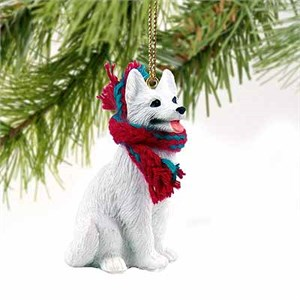 German Shepherd Tiny One Christmas Ornament White