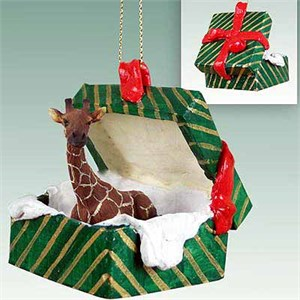 Giraffe Gift Box Christmas Ornament