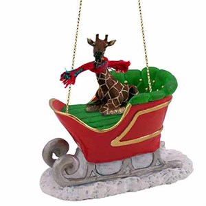 Giraffe Sleigh Ride Christmas Ornament