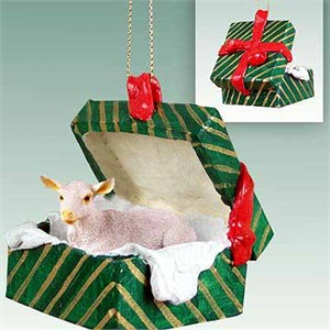 Goat Gift Box Christmas Ornament White
