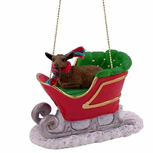 Goat Sleigh Ride Christmas Ornament Brown