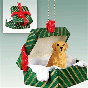 Golden Retriever Gift Box Christmas Ornament