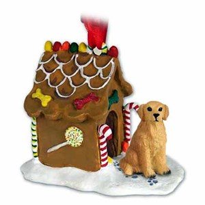Golden Retriever Gingerbread House Christmas Ornament