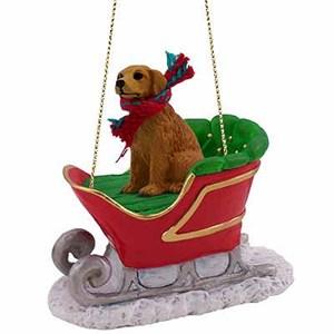 Golden Retriever Sleigh Ride Christmas Ornament