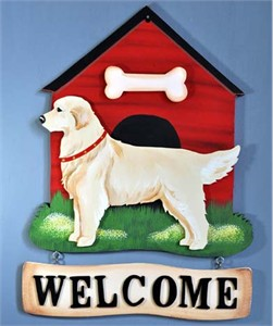 Golden Retriever Welcome Sign Blonde