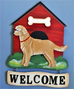 Goldendoodle Welcome Sign Gold