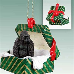 Gorilla Gift Box Christmas Ornament