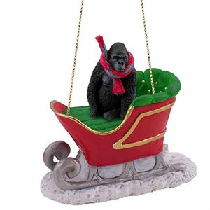 Gorilla Sleigh Ride Christmas Ornament