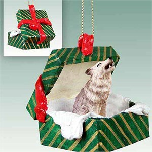 Gray Wolf Gift Box Christmas Ornament