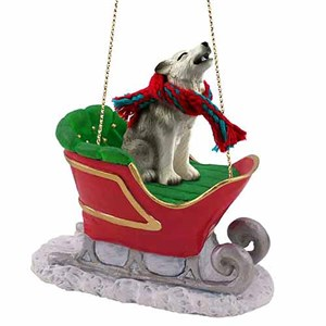 Gray Wolf Sleigh Ride Christmas Ornament