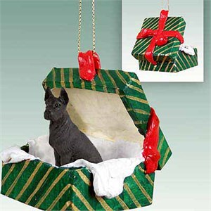 Great Dane Gift Box Christmas Ornament Black