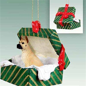 Great Dane Gift Box Christmas Ornament Fawn