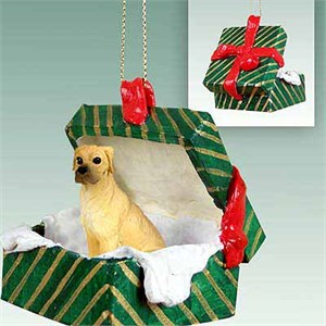 Great Dane Gift Box Christmas Ornament Fawn Uncropped