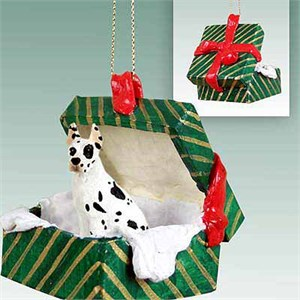 Great Dane Gift Box Christmas Ornament Harlequin