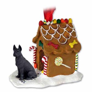 Great Dane Gingerbread House Christmas Ornament Black