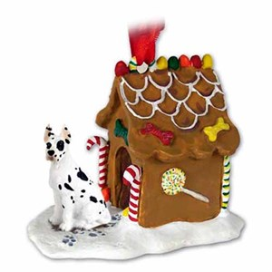 Great Dane Gingerbread House Christmas Ornament Harlequin