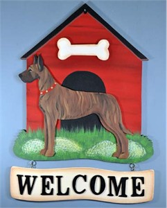 Great Dane Welcome Sign Brindle