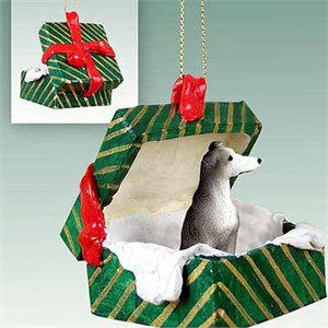Greyhound Gift Box Christmas Ornament Blue