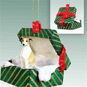Greyhound Gift Box Christmas Ornament Tan-White