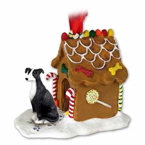 Greyhound Gingerbread House Christmas Ornament Black-White