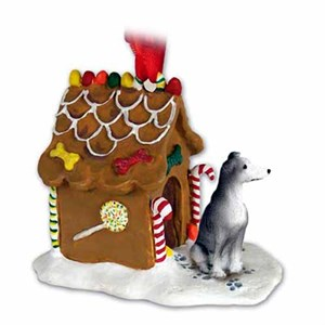 Greyhound Gingerbread House Christmas Ornament Blue