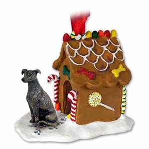 Greyhound Gingerbread House Christmas Ornament Brindle