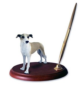 Greyhound Pen Holder (Tan & White)