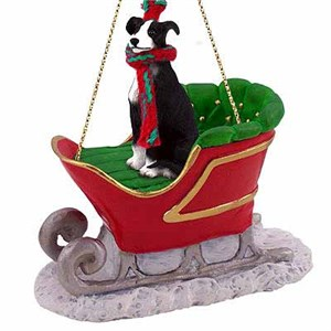 Greyhound Sleigh Ride Christmas Ornament Black-White