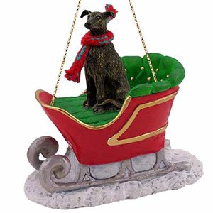 Greyhound Sleigh Ride Christmas Ornament Brindle