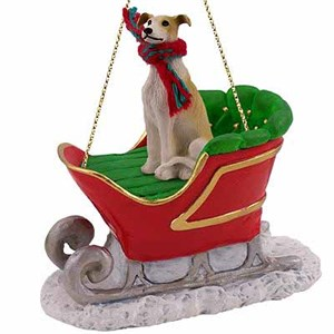 Greyhound Sleigh Ride Christmas Ornament Tan-White