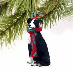 Greyhound Tiny One Christmas Ornament Black-White