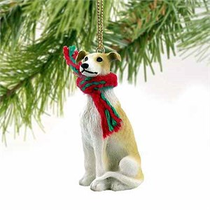 Greyhound Tiny One Christmas Ornament Tan-White