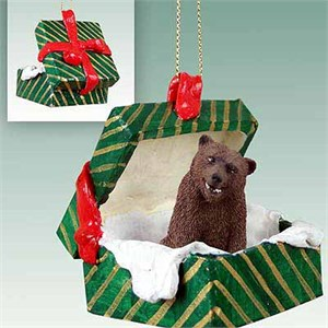 Grizzly Bear Gift Box Christmas Ornament
