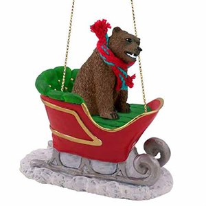 Grizzly Bear Sleigh Ride Christmas Ornament