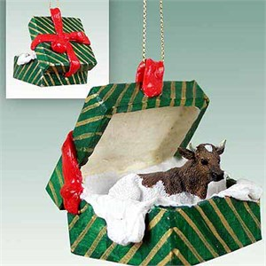 Guernesey Bull Gift Box Christmas Ornament