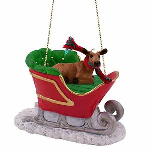 Guernsey Cow Sleigh Ride Christmas Ornament