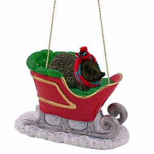 Hedgehog Sleigh Ride Christmas Ornament