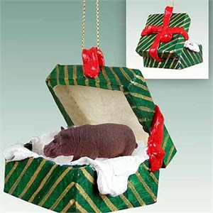 Hippopotamus Gift Box Christmas Ornament
