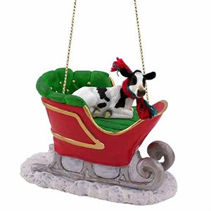 Holstein Cow Sleigh Ride Christmas Ornament