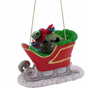 Iguana Sleigh Ride Christmas Ornament