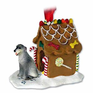 Irish Wolfhound Gingerbread House Christmas Ornament
