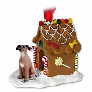 Italian Greyhound Gingerbread House Christmas Ornament